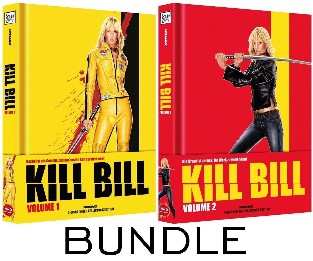 Kill Bill Vol. 1 + 2 Bundle  (Lim. Uncut Wattiertes Mediabook - Cover B) (4 Discs) (DVD + BLURAY)